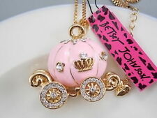 Betsey Johnson Cinderella Fairy Godmother Pumpkin Carriage Pendant Necklace Pink