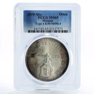 Mexico 1 onza Type 4 Scales MS65 PCGS silver coin 1979