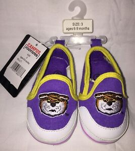 LSU TIGERS Campus Footnotes Baby Sz 3 Shoes NWT