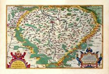 LARGE ANTIQUE MAP OF 16TH CENTURY SLAVIC BOHEMIA PAINTING ART REAL CANVAS PRINT