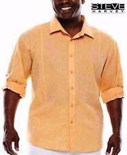 NWT $75.00 4XL Steve Harvey Linen Long Sleeve to 3/4's Button Front Orange Shirt