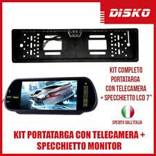 """KIT PORTATARGA CON TELECAMERA 170° + MONITOR SPECCHIETTO RETROVISORE 7"""" LED AUTO"""