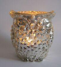 Teelichthalter Eule Glas Windlicht Bauernsilber silber antik look Shabby Vintage