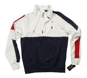 Polo Ralph Lauren Men's White Multi Soft Cotton 1/4 Zip Pullover Sweatshirt