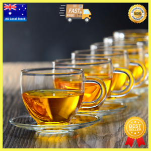 Pack of 6 High Quality Small Glass Tea Cup With Saucer Coffee Cup Tea Mug 120ml