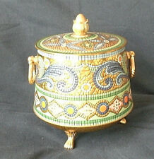 VINTAGE FOOTED HANDLED EMBOSSED ENAMELED LOOK BISCUIT/CANDY TIN WITH LID!