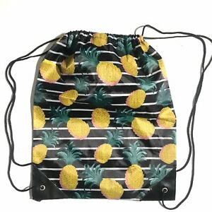 Cute Pineapple Print Sling Backpack Ladies Nylon Tropic Bag Black White Stripe