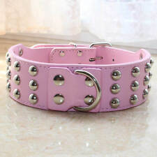 Large Breed Dog Collar Leather 3 Rows Spiked Studded Dog Collar German Shepherd