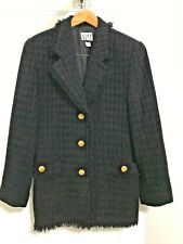 Bice Boucle Jacket Womens Black Size 10 Long Gold Colored Buttons