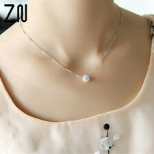 S925 pure silver necklace female short design crystal ball chain