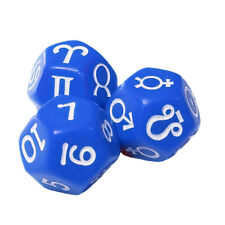 Set of 3 Blue Astrology Dice Planets Zodiac Numbers 12 Sided in Snow Organza Bag
