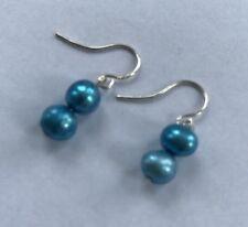 Ohrringe Ohrhänger aus 2 Süßwasser Perlen Zuchtperlen in barocker Form türkis