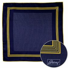 Men's BRIONI Yellow Silver Spiral Silk Hand Rolled Pocket Square Handkerchief