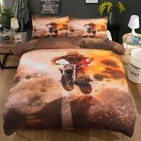 3D Flame Motorcycle ZHUA663 Bed Pillowcases Quilt Duvet Cover Set Queen King Zoe
