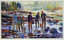 Miniature Painting Clam Digging Listed Artist Carlton Plummer 1929-2020