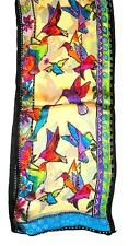 SCARF Long Silk Turquoise Red Pale Yellow Purple Green Birds FLYING HUMMINGBIRDS