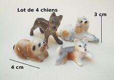 lot de 4 chiens miniature en porcelaine ,collection, vitrine, hondje, dog  S1-C