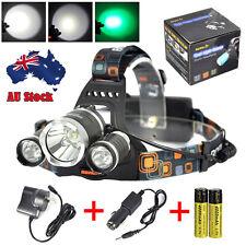 BORUiT Powerfull XM-L T6+2XGreen LED Headlight Hunting Lamp Flashlight 2XCharger