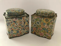 """Square Tin Round Lid Wildflower Floral Design Daher England Lot Of 2 4.5""""tall"""