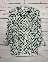 Karl Lagerfeld Paris Women's M Medium Black White Cute Spring Top Blouse Shirt