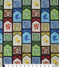 HARRY POTTER STAINED GLASS HOUSES COTTON FABRIC  BTHY 18