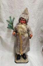 """Vintage 1900's Saint Nicholas Santa w/ Mohair Coat Christmas Candy Container 23"""""""