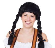 196a88e3330 Black Bavarian Fraulein Pigtail Plaits Oktoberfest German Fancy Dress Wig