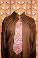 A316✪ original 70er Jahre Kult Retro Krawatte Hippie Muster apricot flieder