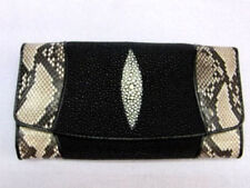 Womans Unique and Stunning Stingray and Python Skin Leather Clutch Wallet Black