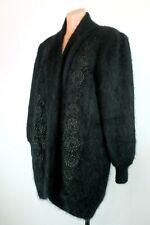 FULLY FASHION 🐇 FABULOUS Fluffy-Soft 80% Angora Black Cardigan Coat Sweater O/S