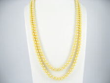"62"" 160cm Extra Long Light Golden Yellow Shell Pearl Necklaces Present"