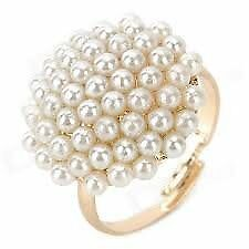 Vintage Gold-filled Mushroom Shaped Pearl Ring - White