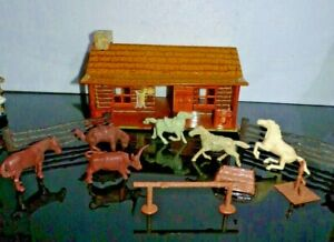 Vintage 50's Marx BAR M RANCH Tin Litho Log Cabin w/Some Animals other parts