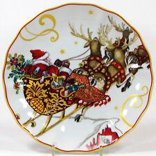 "Williams-Sonoma TWAS THE NIGHT BEFORE CHRISTMAS 8.25"" Salad Plate Santa Sleigh"