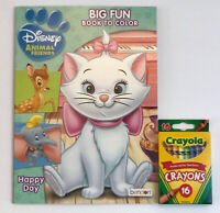 New 2pc Set Disney Animal Friends Big Fun Book To Color + Crayons Dumbo Bambi