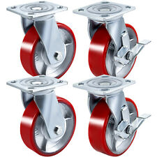 4pack 5 Pu Casters Swivel With 2 Side Brake Iron Core No Noise Polyurethane