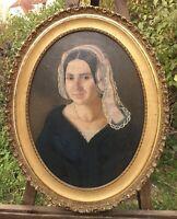 Ölgemälde Portrait Junge Frau Arad Ungarn Fanny Blau Biedermeier 74 x 58 Oval
