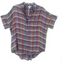 Lucky Brand Button Front Shirt Blouse Womens Small S Purple Blue Checks S/S Top
