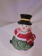 Tealight Holder Cheerful Snowman Battery Operated Candle Changes Colors