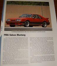 ★★1986 SALEEN MUSTANG SPECS INFO PHOTO 86 GT 5.0 302 85 RED FOXBODY★★