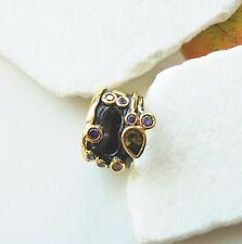Zirkonia gold grün rot lila Design Ring Ø 17,0- 17,75 - 18,5 mm schwarz