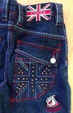 Coogi Jeans Boys Youth Size 10 Embroidered United Kingdom Pockets Bull Dog