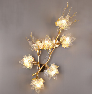 Luxury Crystal Flower Branch Wall Lamp Modern Gold Metal Wall Light Sconce