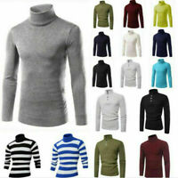 Autumn Men's Pullover High Neck Sweater Tops Turtleneck Knitwear Blouse