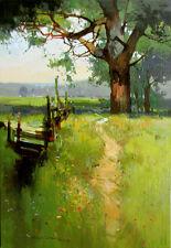 """NEW VYTAUTAS LAISONAS ORIGINAL CANVAS """"Path Near the Oak"""" Landscape OIL PAINTING"""