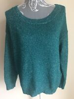 H&M Womens Jumper Size 10 Green Silver Sparkly Oversized Long Sleeved Crew Neck