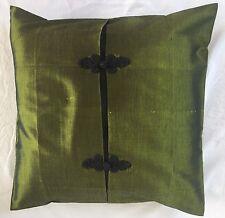 Pair of 'ELEGANT - Green' Cushion Covers, 100% Thai Silk