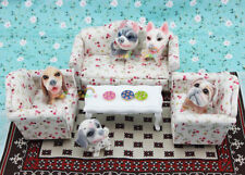 3 x Living Room Sofa Set Furniture Couch Flower Dollhouse Miniature 1:12 Scale