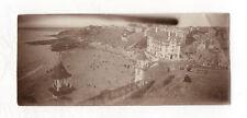 PHOTO ANCIENNE Panoramique Plage de Granville 1921 Vue générale Bord de mer