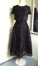 TED BAKER Lace Dress Janelle Midi Layered Black Sz 1 UK 8